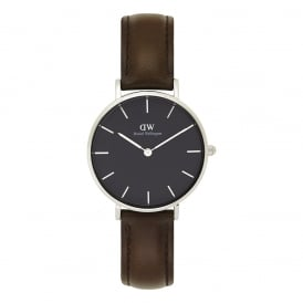 DW00100177 Classic Petite Bristol Silver, Black Dial & Dark Brown Leather Ladies Watch
