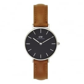 DW00100178 Classic Petite Durham Silver, Black Dial & Light Brown Leather Ladies Watch
