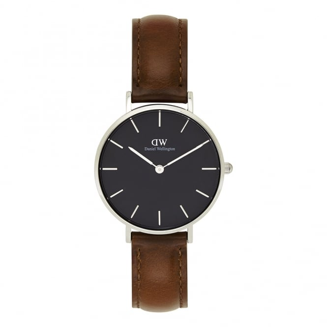Daniel Wellington DW00100181 Classic Petite St Mawes Silver, Black Dial & Brown Leather Ladies Watch