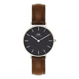 DW00100181 Classic Petite St Mawes Silver, Black Dial & Brown Leather Ladies Watch