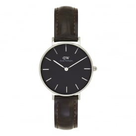 DW00100182 Classic Petite York Silver, Black Dial & Brown Textured Leather Ladies Watch