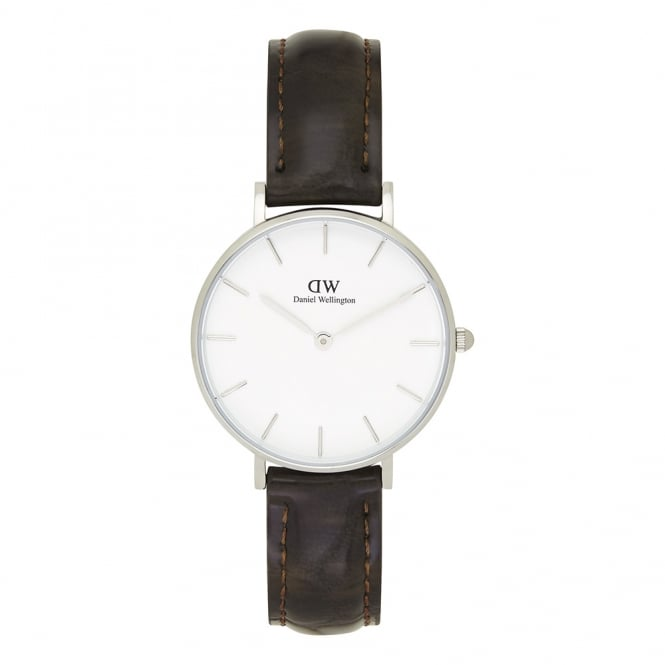 Daniel Wellington DW00100188 Classic Petite York Silver & Brown Textured Leather Ladies Watch