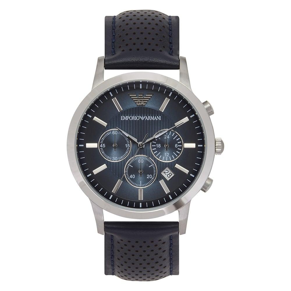 6031b3f57c2 Dark Blue Leather Mens Chronograph Watch AR2473