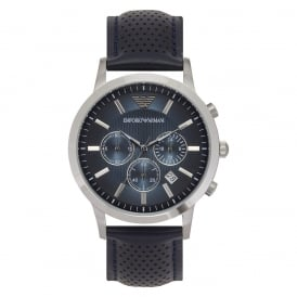 Dark Blue Leather Mens Chronograph Watch AR2473