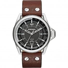 DZ1716 Rollcage Silver, Gunmetal Dial & Brown Leather Men's Watch