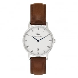DW00100095 Dapper 34 St Mawes Silver & Brown Leather Watch