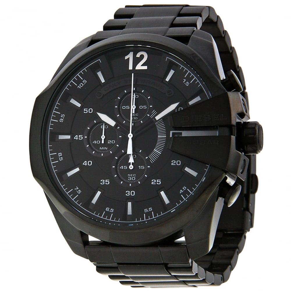 diesel leather quartz s watch chief black dial watches mega men