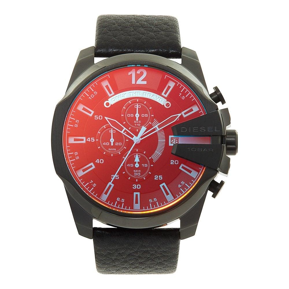 63040c0ba3d1 DZ4323 Mega Chief Blue  amp  Red Dial Black Leather Men  039 s Chronograph