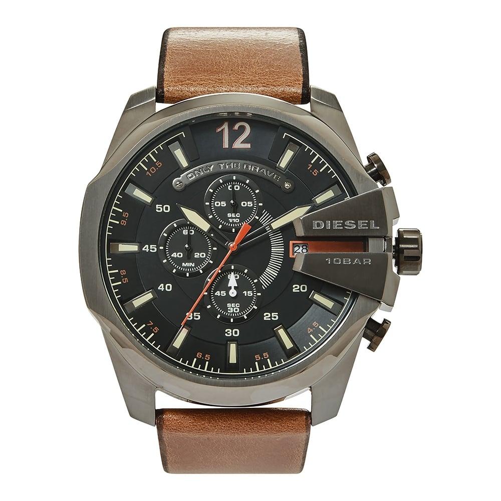 8236ceda4792 DZ4343 Diesel Mega Chief Black and Brown Leather Chronograph Mens ...