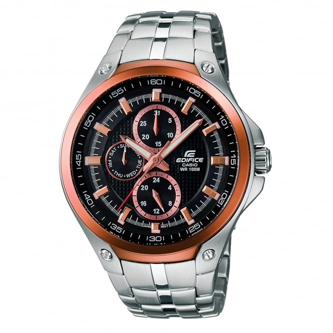 Casio Watches EF-326D-1AVUEF Edifice Rose Gold & Silver Stainless Steel Men's Watch