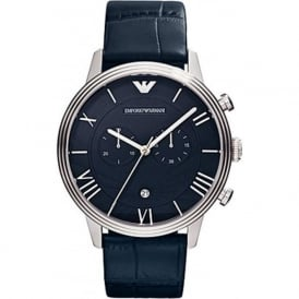 Armani Watches AR1652 Emporio Armani Gianni Mens Blue Leather Chronograph Watch