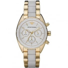 Armani Watches AR5944 Sportivo Chronograph Ladies PVD Gold Plated Watch