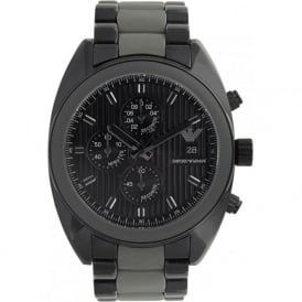 Armani Watches Emporio Armani Mens Black ION Plated Steel Chronograph Watch AR5953