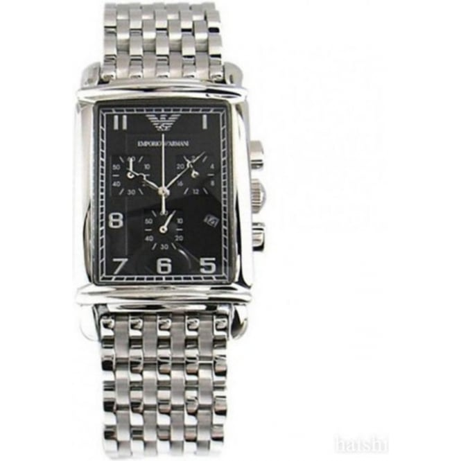 Armani Watches AR0299 Stainless Black Dial Chronograph Mens Watch