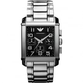 Armani Watches AR0334 Stainless Black Dial Chronograph Mens Watch