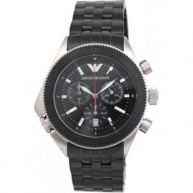 Armani Watches AR0547 Black & Stainless Chronograph Mens Designer Watch