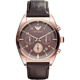 Armani Watches AR0371 Armani Brown&Rose Gold Leather Men's Watch
