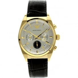 Armani Watches AR0372 Black & Gold Chronograph Men's Watch leather strap