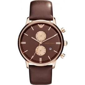 Armani Watches AR0387 Brown Leather Multifunction Mens Watch