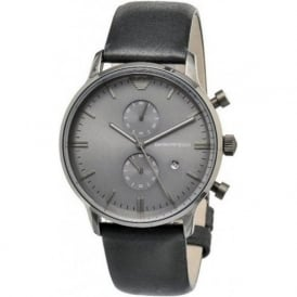 Armani Watches AR0388 Black Leather Multi Functional Gents Armani Watch