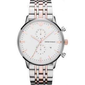 Armani Watches AR0399 Silver & Rose Gold-Tone Stainless Steel Multifunction Mens Watch