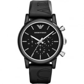 Armani Watches AR1053 Black Silicon Chronograph Unisex Watch