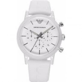 Armani Watches AR1054 White Silicon Chronograph Unisex Watch