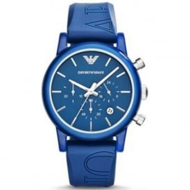 Armani Watches AR1058 Blue Silicon Chronograph Men's Watch