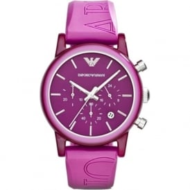 Armani Watches AR1059 Purple Silicon Chronograph Women's Watch