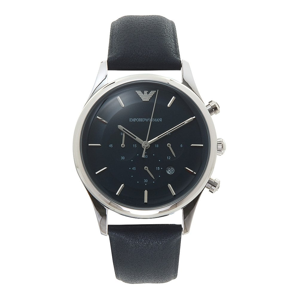 a2c2173a14 Armani Watches AR11018 Silver & Navy Blue Leather Chronograph Men's Watch