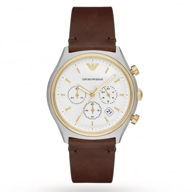 Armani Watches AR11033 Gold, Silver & Brown Leather Chronograph Men's Watch