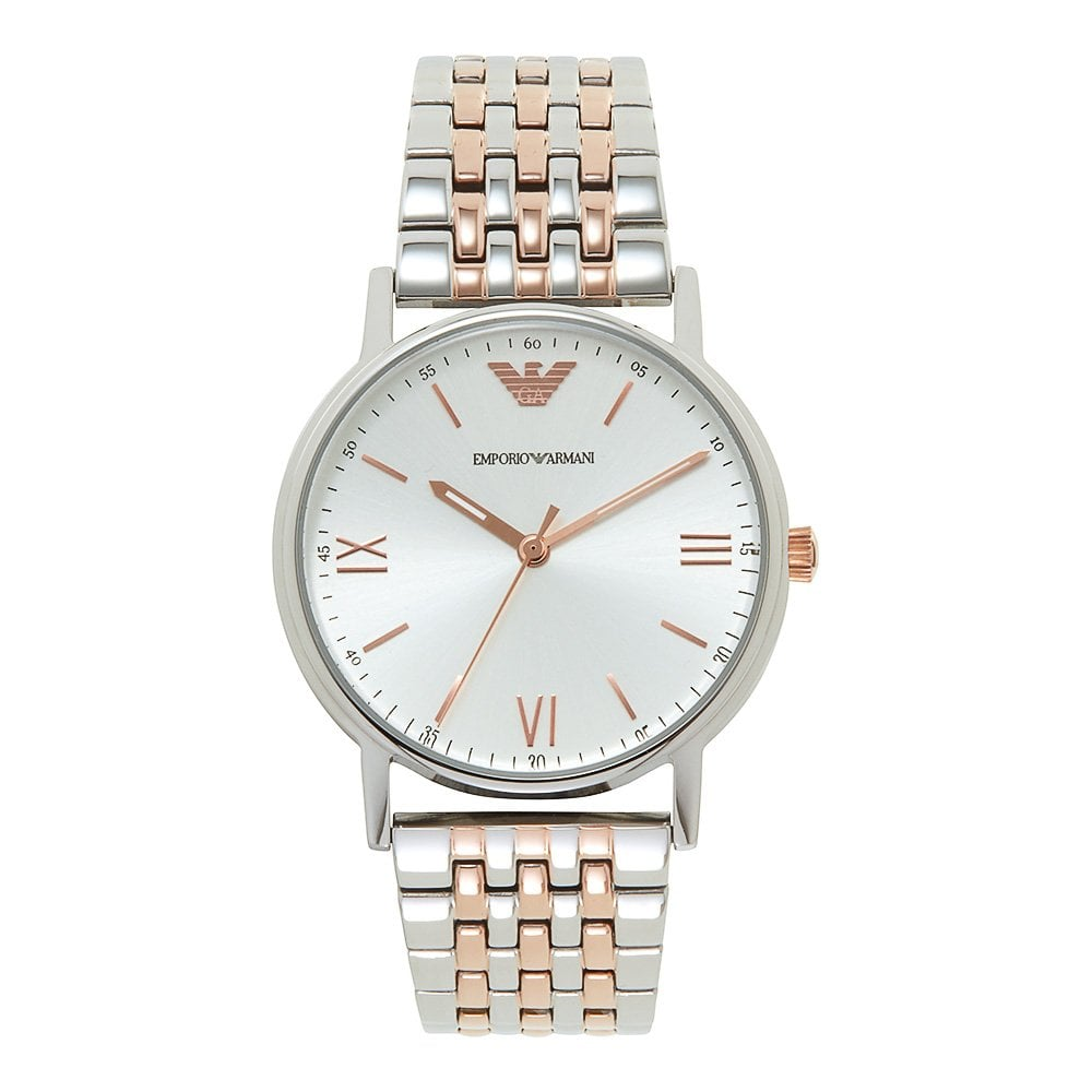 3925710960 Armani Watches AR11093 Silver & Rose Gold Stainless Steel Men's Watch