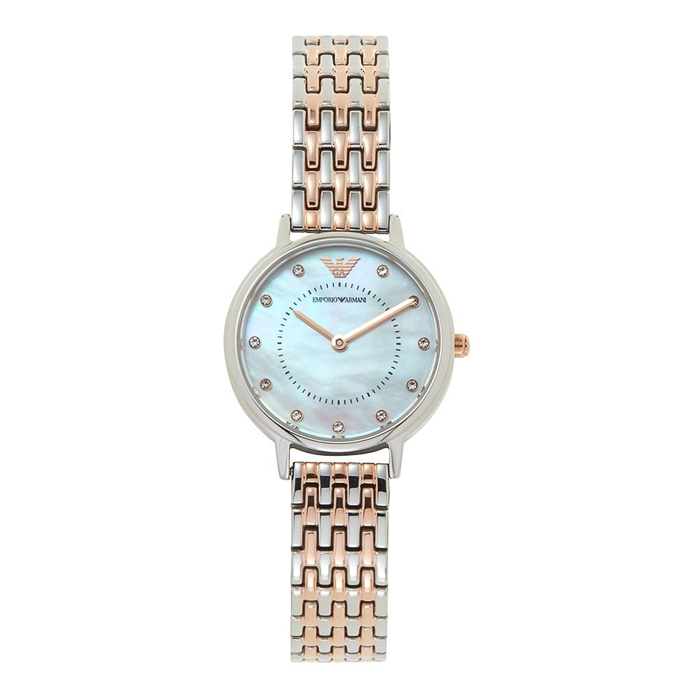 3e1e1af62dc3a AR11094 Mother of Pearl Dial, Silver & Rose Gold Stainless Steel Ladies  Watch