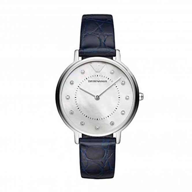 0f49d27950a AR11095 Women s Silver Analogue Quartz Watch with Navy Leather Strap