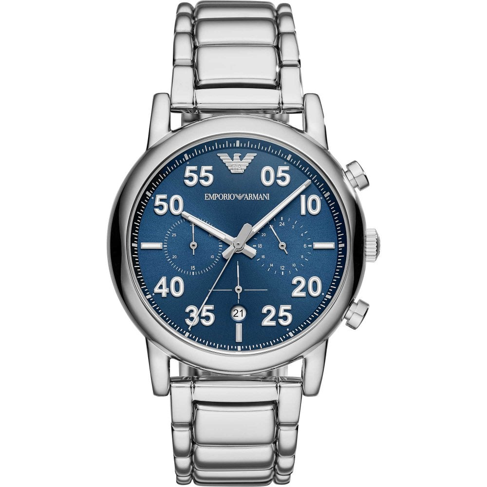 ead05d9e Armani Watches AR11132 Blue Sunray Dial & Silver Stainless Steel  Chronograph Men's Watch
