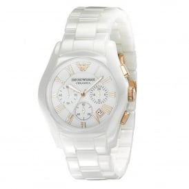 Armani Watches AR1416 White Ceramic Chronograph Ladies Watch