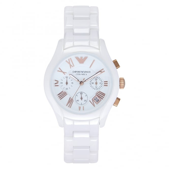 Armani Watches AR1417 White Ceramica Chhronograph Ladies Watch