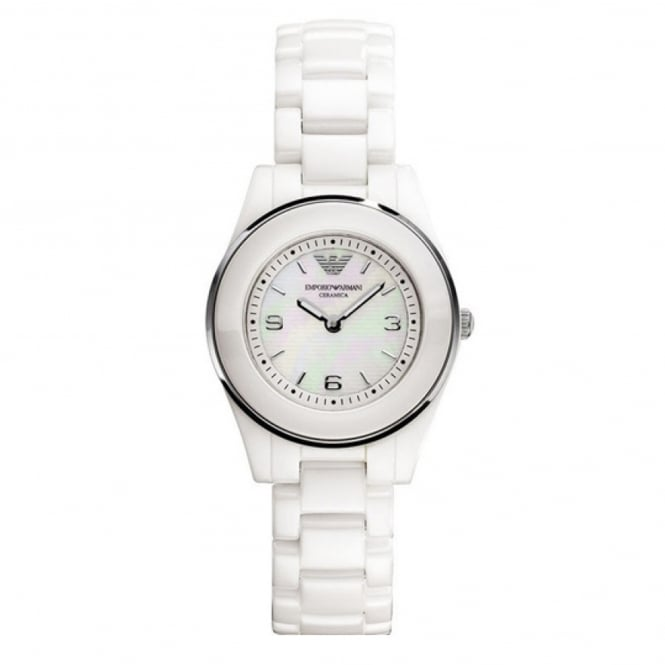 Armani Watches AR1439 Mother of Pearl Dial & White Ceramica Ladies Watch