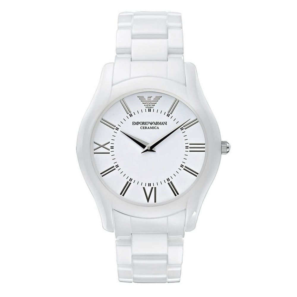 emporio armani ar1442 super slim white ceramica men s watch on armani watches ar1442 super slim white ceramica men s watch