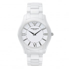 Armani Watches AR1442 Super Slim White Ceramica Men's Watch