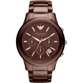 Armani Watches AR1454 Brown Ceramica Chronograph Men's Watch