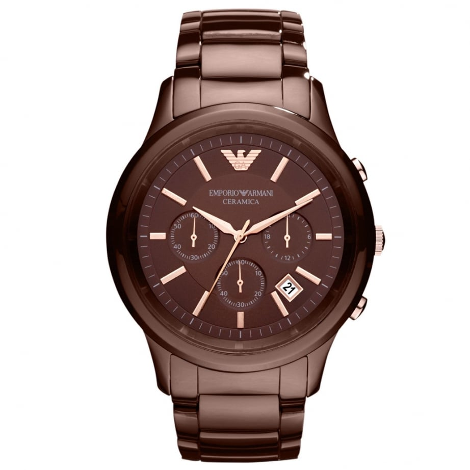 Armani ar1454 brown ceramica chronograph men 39 s watch for Ceramica chronograph