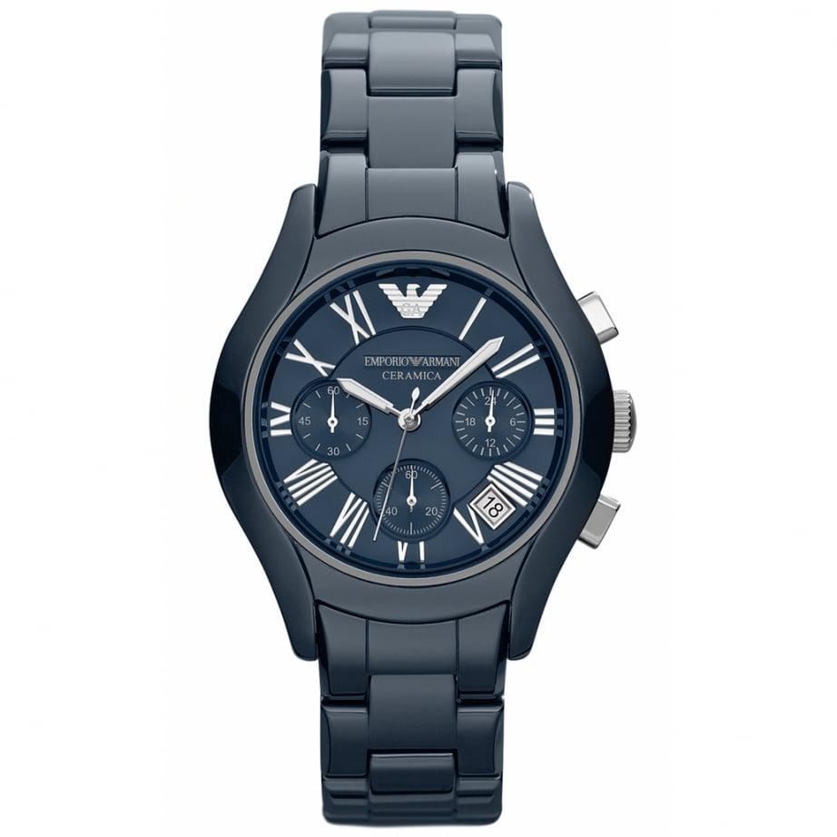 ar1470 emporio armani blue ceramic chronograph