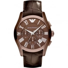 Armani Watches AR1609 Brown Leather Chronograph Mens Watch