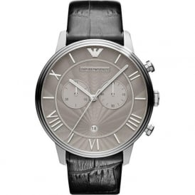 Armani Watches AR1615 Silver & Black Leather Chronograph Mens Watch