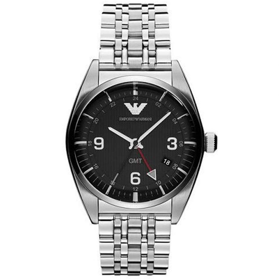 ar1627 emporio armani black and silver stainless steel