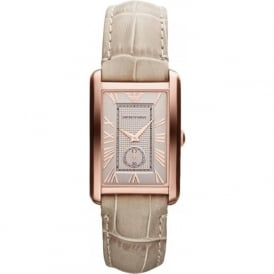 Armani Watches AR1673 Rose Gold & Nude Leather Ladies Watch