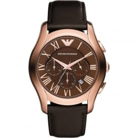 Armani Watches AR1701 Rose Gold & Dark Brown Leather Chronograph Mens Watch