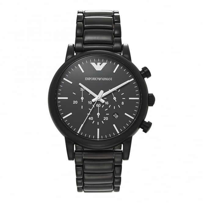 Armani Watches AR1895 Matte Black Dial & Black Stainless Steel Chronograph Men's Watch