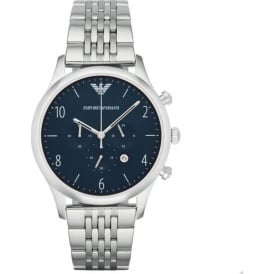 Armani Watches AR1942 Navy & Silver Stainless Steel Mens Watch